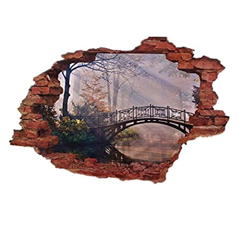 sourcingmap® Décoration chambre cassé visuelle 3D Paysage Pont mur autocollant Sticker Mural Motif