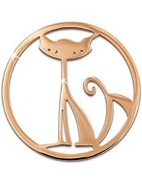 Amello Acero Inoxidable Coin Mujer Gato Rosegold para coinsfassung Acero joyas esc531e