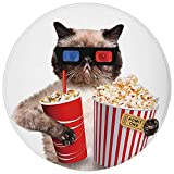 Pet Mat Round Rug Mat Carpet,Movie Theater Decor,Cat with Popcorn and Drink Watching Movie Glasses Entertainment Cinema
