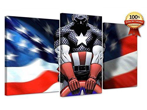 Cuadro Moderno sobre Lienzo Impresión sobre lienzo 50x 90cm (Dim. paneles cm. 30x 50–30x 40–30x 40) Capitán América