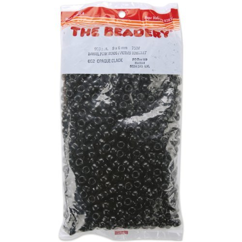 The Beadery 6 by 9mm Barrel Pony Bead in Black, 900-Piece by The Beadery -
