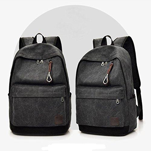 Rucksack, Voberry Männer Casual Leinwand Rucksack Schule Reise Student Schule Laptop Tasche Schwarz