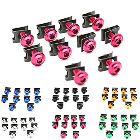 Alpha Rider Moto 6mm M6 Boulons de carrosserie Boutons de fixation Spire Vitesse Clips Screw Nuts à ressort 10 PCS (Rouge)