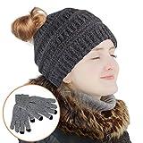 TUPARKA Frauen Hut Stricken Schädel Beanie Winter Outdoor Runner Chaotisch Brötchen Pferdeschwanz Kappe mit 1 Paar Touchscreen Handschuhe (Grau)