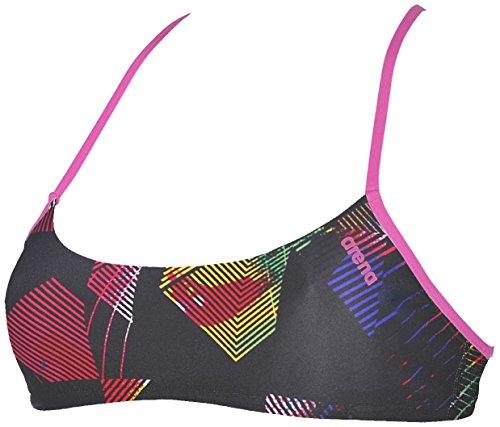 arena Damen Profi Trainings Bikinioberteil Bandeau Play (Schnelltrocknend, UV-Schutz UPF 50+, Chlorresistent), Multicolor-Fresia Rose (195), M