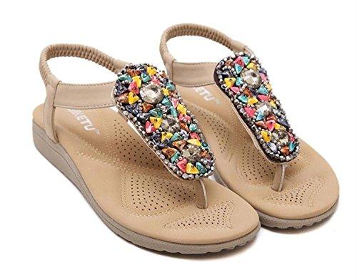 Minetom Femmes Filles Des Bohême Sandales Faux Diamant Peep Toe Été Tongs Flip Flops Chaussure Plage Voyage Vacances Abricot