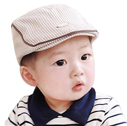 ✽Internet✽ Gorra linda de la boina de la raya del bebé Gorra De Béisbol (Caqui)