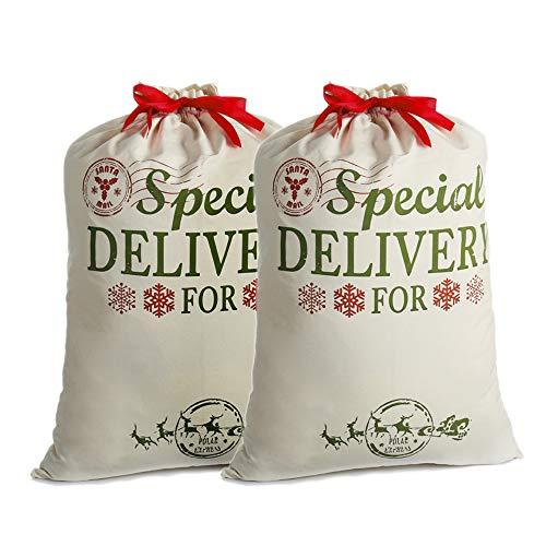2 Pack Sacos Santa Personalizadas Navidad Regalo Bolsas