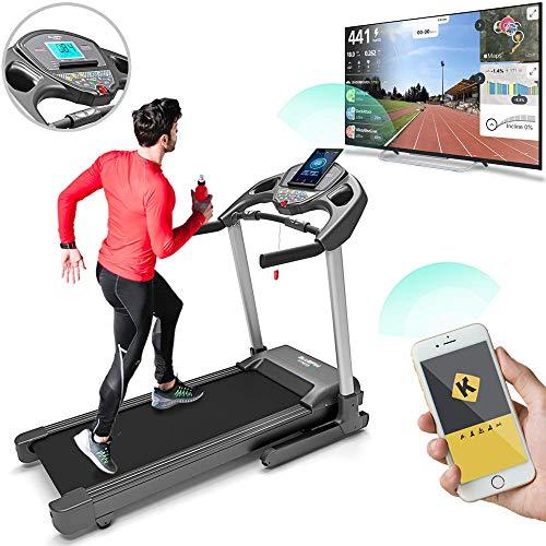Bluefin Fitness Kick High-Speed Laufband   Leise   20 km/h + 7 PS + 15{8b1800d51d3260d3886428836f888448f615738bb7ad1eb7c92e29b1354f2c1f} Steigung   Gelenkschonende Technologie   Digitale Fitnesskonsole   App + Bluetooth-Lautsprecher + Herzfrequenzsensoren (Scwarz)