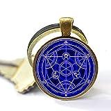 Full Metal Alchemist Trasmutazione blu cerchio portachiavi Full Metal Alchemist portachiavi Full Metal Alchemist cupola di vetro blu blu