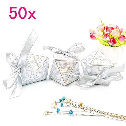 JZK 50 Diamant Form Süßigkeiten Schachtel mit bändern papier, Gastgeschenk Schokolade Box für Hochzeit Geburtstag Babyparty Garten Party Hochzeit Schokolade