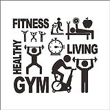 JXAA Wandaufkleber Sport Mann Frau Fitness Hantel Vinyl Wandaufkleber Aufkleber Bodybuilding Gym...