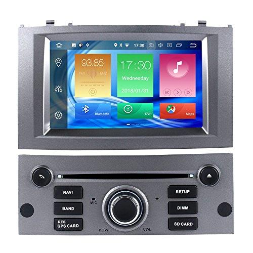 Harfey H32958G 7 pouces tactile radio GPS navigation stéréo mise à niveau Android 8.0 pour 2004-2010 Peugeot 407 Bluetooth 1080p vidéo FM / AUX / USB / MIC volant contrôle Plug and Play