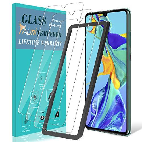 TAURI [3 Stück Panzerglas für Huawei P30 Schutzfolie Panzerglasfolie,[Ausrichtungsrahmen] [2.5D Runde Kante] [9H Härte] Gehärtetem Glas Hartglas Displayschutzfolie Aus Gehärtetem Glas