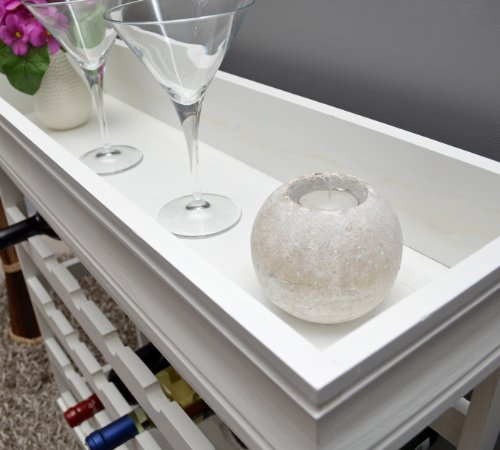 Weinregal Weiß für 24 Flaschen Flaschenregal weißes Holz - 4