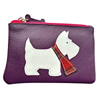 Scottie Dog Purse Small Coin Pouch Ladies Girls Scottish Terrier White Westie Genuine Leather (Purple)