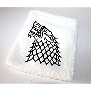 Handtücher mit Stickerei, Bestickte Handtücher, DUSCHTUCH, HANDTUCH,GÄSTETUCH mit Stickmotiven, Badetücher, Game of Thrones, Stark, Winter is coming