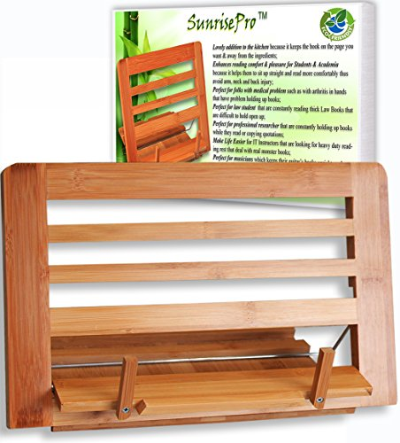 Eco Friendly | Premium Quality Bamboo Cookbook Stand | Perfect Reading Rest For Recipe Book, Ideal BookChair Or Reading Holder Of Large To Small Book | Sustainable Material Test