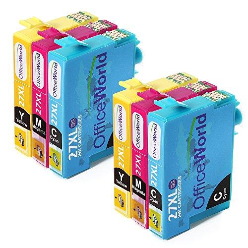 Preisvergleich Produktbild OfficeWorld Ersatz für Epson T27XL Farbtintenpatronen (2 Cyan, 2 Magenta, 2 Yellow) Hohe Kapazität für Epson Workforce WF 3620 3640 7110 7610 7620