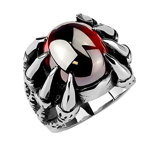 Mianova Herren Ring Edelstahl Massiv Breit Herrenring Männer Biker Rocker Schmuck Gothik Drachenklaue mit roten Kristall Motiv Größe 62 (19.7) (Biker-ringe Für Männer 925 Silber)