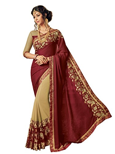 Shangrila Woman's Maroon & Beige Colour Georgette Embroidered Saree