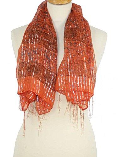 reflets-indiens-foulard-brillant-orange-orange-taille-unique-coton