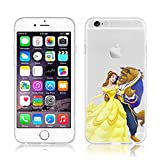 Disney PRINCESS transparente in poliuretano termoplastico per iPhone-Cover ; Minions ; Winnie ; cartoon, trasparente in poliuretano termoplastico per iPhone-Cover per Apple iPhone 5, 5S, 5C, 6/6S , 6PLUS , iphone7 plastica, (iphone 5/5s, Beauty & Beast)
