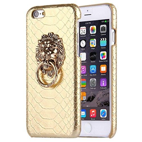 Phone case & Hülle Für iPhone 6 / 6s, Snakeskin Texture Paste Skin PC Schutzhülle mit Löwenkopf Halter ( Color : Black ) Gold