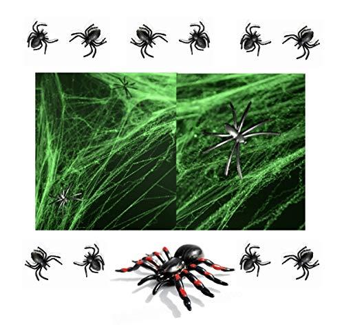 (Feste Feiern Halloweendeko I 17 Teile Spinnennetz Spiderweb Spinnweben Neon grün Dekospinnen Tarantel Set Schwarz I Happy Horror Halloween Party Deko)