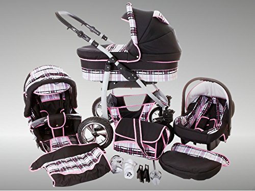 Chilly Kids Dino Kinderwagen Winter-Set (Winterfußsack, Autositz & Adapter, Regenschutz, Moskitonetz, Getränkehalter, Schwenkräder) 41 Schwarz & Karo Grau & Naht Rosa