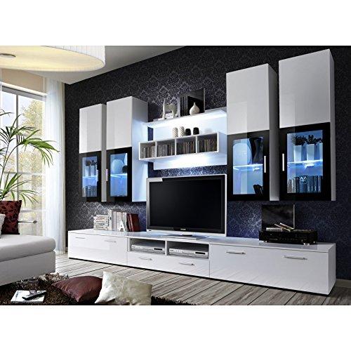 ASM Gros mobilier Ensemble Meuble TV Mural - Lyra - 300 cm x 190 cm x 45 cm - Blanc