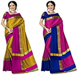 Art Decor Sarees Cotton Saree with Blouse Piece (Pack of 2) (Ashi N Combo Sarees100019_Multicoloured_Free Size)