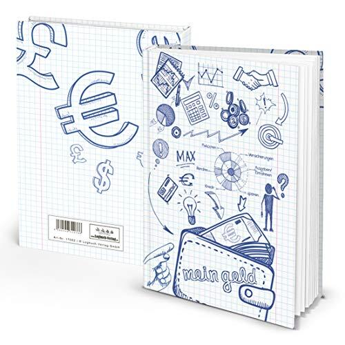 MEIN GELD Haushaltsbuch Notizbuch Buch zum Einschreiben DIN A5 klein blau weiß Sparen Finanzen Ausgaben Einnahmen