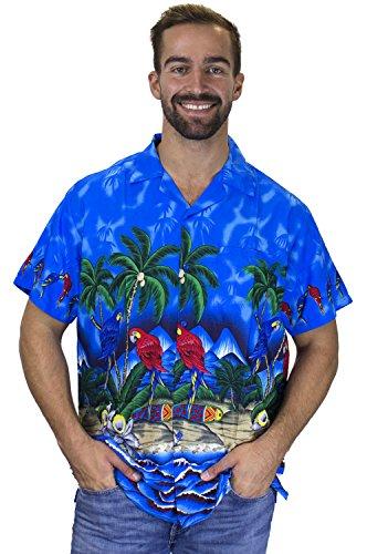 V.H.O. Funky Hawaiihemd, Kurzarm, Papagei, blau, -