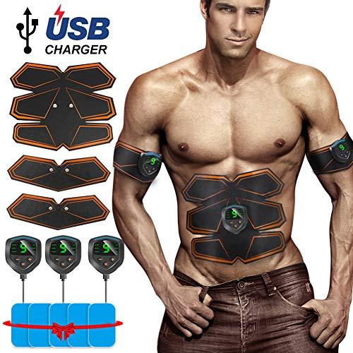 Openuye Electroestimulador Muscular Abdominales, Masajeador Eléctrico Cinturón, Abdomen/Brazo / Piernas/Cintura Entrenador Muscular, USB Recargable y Pantalla LCD (Hombre/Mujer)