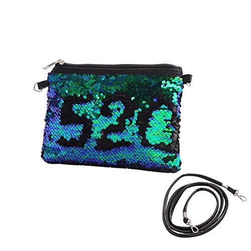 Saniswink Damen Reisetasche mit Pailletten, große Kapazität, Clutch, Handtasche, Schulterriemen, Make-up-Tasche Grün/Schwarz