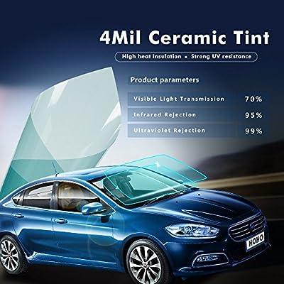 Hoho VLT 70% 4mil Nano en céramique film solaire teinté pour fenêtre de pare-brise avant anti reflets pour auto, Résidentielles 152,4x 101,6cm