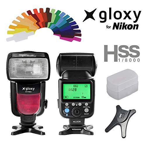Gloxy GX-F990 Flash iTTL pour Nikon D3400, D3200, D3300, D7100, D5100, D5200, D5300, D500, D7000, D800, D90, D600