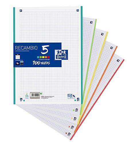 Oxford Classic - Recambio hojas sueltas (formato A4, 100 hojas, 5 colores de...