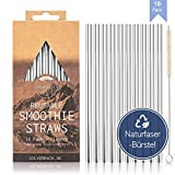 SilverRack Edelstahl Trinkhalme Wiederverwendbar - 10 Metall Strohhalme und 1 Naturfaser Reinigungsbürste - Edelstahl Strohhalme für leckere und umweltbewusste Smoothies
