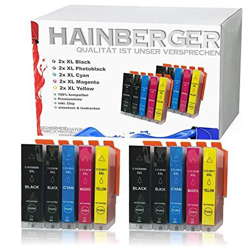 Hainberger - 10 cartucce XXL compatibili con Canon PGI580 CLI581 Pixma TR8550 TS6150 TS6151 TS6250 TS8150 TS8151 TS8152 TS8250 TS9150 TS9155 TS9550 TR7550 PGI-580 CLI-581