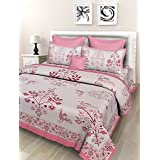 """Fashion Dziner Floral Print Double Size Bed Sheet Pink Color 1 Bed Sheet With 2 Pillow Covers Size (L X W) : (90"""" X 108"""" Inches & 275 X 230 CM) Bed Sheet ,Blanket, Bedsheet- Multicolor, Classic, Sobar, Hotel, Royal, Rich, Girls, Boys, Men, W"""