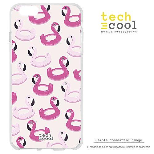 Funnytech® Silikonhülle für Samsung Galaxy A6 [Flexibles Silikon Hohe Qualität] [Ultra Slim 1,5mm hohe Resistenz], High Definition Druck [Schwimmer Summer 2018 Flamingo blau]