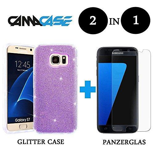 Custodia + Vetro Temperato Glitter lusso strass iPhone Samsung Huawei Case Lila