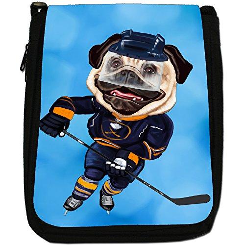Pug-Athlete Rugby-Pallone da calcio, Tennis-Borsa a tracolla in tela, colore: nero, taglia: M Nero (Ice Hockey Pug With Skates)