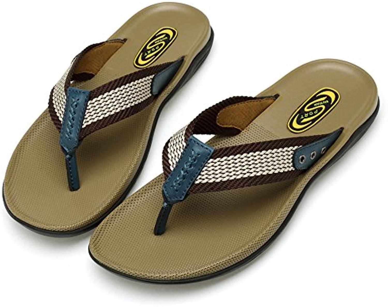 Sharon zhou Zapatillas de Cuero Genuino Hombres Verano de Gran Tamaño Durable Cómodo Antideslizante Chanclas de