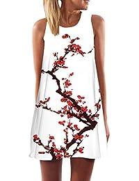 ISSHE Vestidos de Verano Cortos Mujer Vestido de Diario Boho Estampados  Flores Corto Rectos Casuales Mini Vestidos Playeros Diarios Gasa… f5e990308309