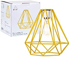 Giggi Yellow Cage Metal Basket Ceiling Light Shade, Wrought Iron Ceiling Fitting Light & Industrial Style Ring Light for Indoor and Metal Basket Pendant Light Shade with lamp Shade Reducer Ring