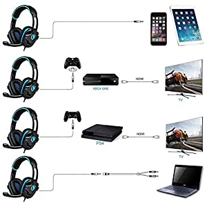 SA708GT 3.5mm Gaming Headset with Mic Noise Cancellation Music Game Headphone for PS4 XBOX 360 Tablet PC Mobile Phones