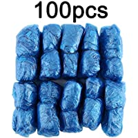 Silverfer 100Pcs/Set Disposable Plastic Shoe Covers Rooms Outdoors Waterproof Rain